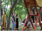 Dawn and Bryan surveying the setup at MANY Faces ONE Peace ALL My Relations Festival at Kiest Park, May, 2013